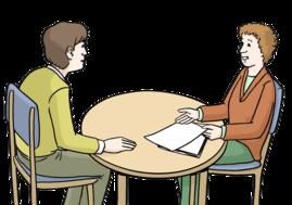 2 Menschen sitzen an einem runden Tisch. Ein Mensch berät den anderen.