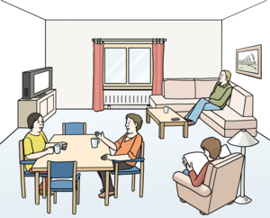 4 Personen sind in einem Wohnzimmer. Eine Person schaut Fernsehen. Eine Person liest in einem Sessel. Zwei Personen sitzen am Tisch und unterhalten sich.